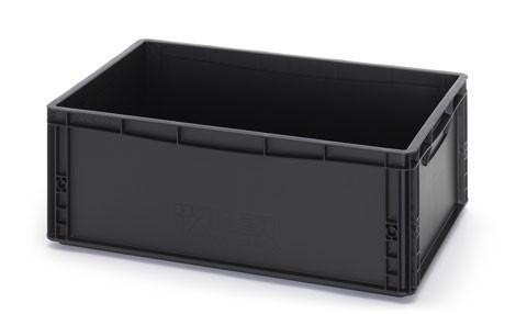 ESD-EG6422-HG   AUER eurobak antistatisch, gesloten uitvoering, afm. 60x40x22 cm (lxbxh), handgrepen gesloten, stapelbaar, zwart, 45 liter
