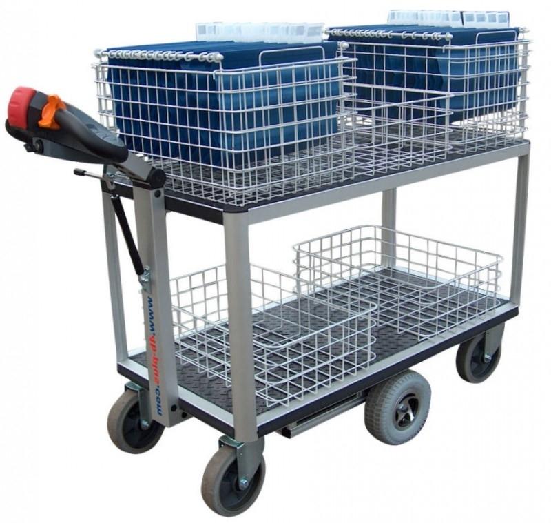 0408001 | FLEXY CART EcoLine elektrische postwagen EPW1EL, aandrijving 24Vdc/400W, laadvlak 1070x600 mm (lxb), laadvermogen 500 kg
