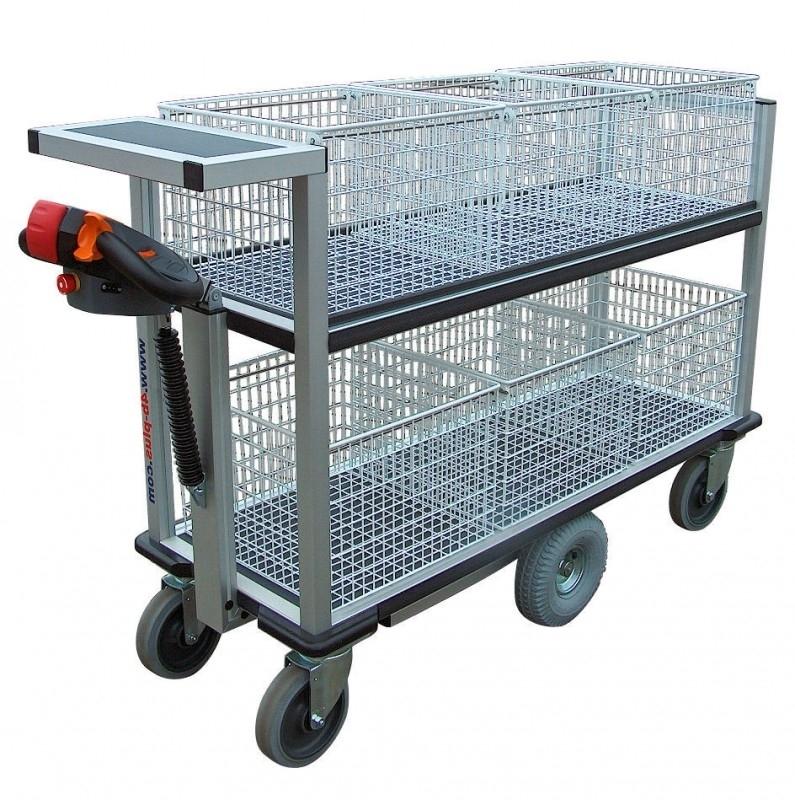 0408002 | FLEXYCART EcoLine elektrische postwagen EPW2EL, aandrijving 24Vdc/400W, laadvlak 1250x600 mm (lxb), laadvermogen 500 kg, fabrieksgarantie 2 jr