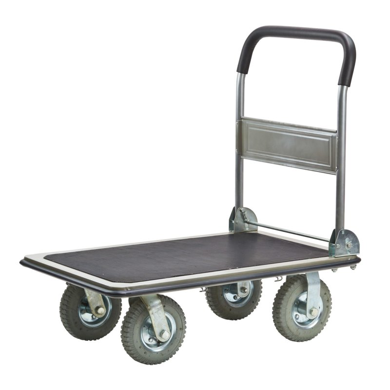19968 | DEMA platformwagen, stalen frame, opklapbare soft-grip duwbeugel, laadvlak 790x600 mm (lxb) incl. vaste rubber antislipmat, spanbandhaken, grijs rubber luchtbandwielen, draagvermogen 300 kg, gewicht 25,3 kg, fabrieksgarantie 5 jr