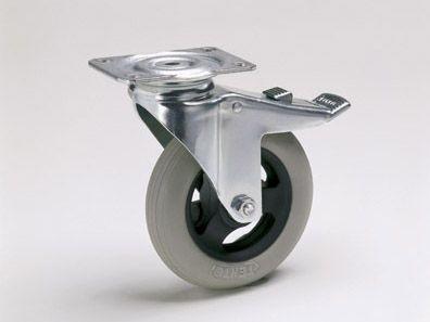 0127075 | Meerprijs set TENTE wielen, ø125 mm met verchroomde vorken, kogelgelagerde no more flat wielen met plaatbevestiging
