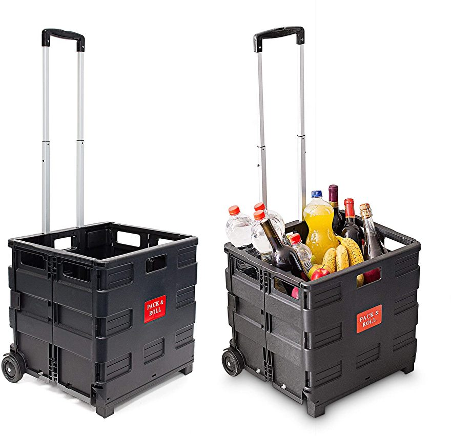 67060 | PACK & ROLL vouwboxtrolley XL (vouwkrat op wielen) zonder deksel, max. belasting 35 kg, inhoud 50 liter, krat afm. 42x37x12/39 cm (bxdxh), kleur zwart, eigen gewicht 3,2 kg, fabrieksgarantie 1 jr
