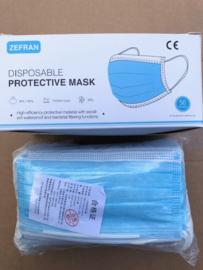 Zefran – Mondmasker 3 laags Blauw elastiek 50 stuks
