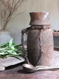 Oud houten kruikje pot touw 25,5cm nr 301