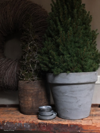 Terracotta bloempot - kleur Graphite met Olive