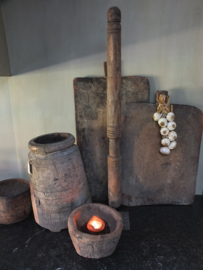 Hoog xl houten ornament metalen voet 100cm