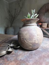 Oud houten kruikje vaas 21,5cm nr 257