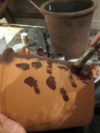 Pot in roesteffect - 3 kleuren Annie Sloan krijtverf en Dark wax