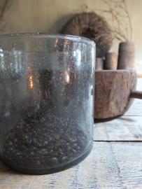 Windlicht glas grey smoke 15,5cm hoog