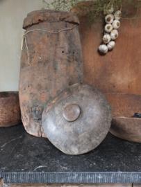 Oud houten deksel ornament decoratie 29cm