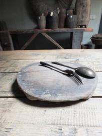 Oude houten chapati serveerplank 25cm nr 1
