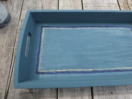 Dienblad mediterraanse stijl - Annie Sloan Aubusson Blue, Napoleonic, Arles, Clear en Dark wax