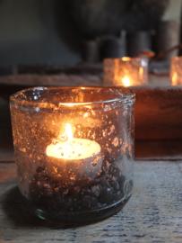 Windlichtje waxinehouder helder met steenslag 7cm hoog