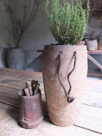 Oud houten kruik pot touw 28,5cm nr 227