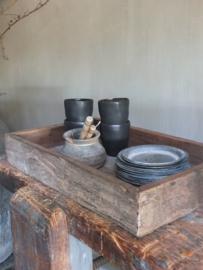 Stoere zware oud houten tray dienblad - gereserveerd