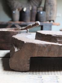 Oud houten tray serveerplankje 18cm