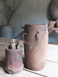 Oud houten kruik pot touw 23cm nr 225