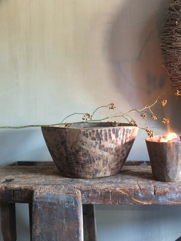 XL grote oude houten kom schaal bak bowl 40cm