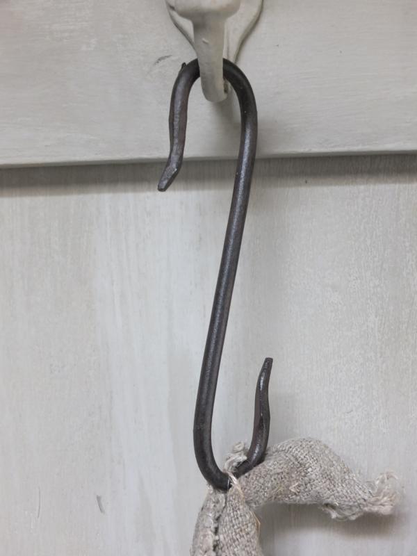 Roestbruine metalen haak S haak 16,5cm