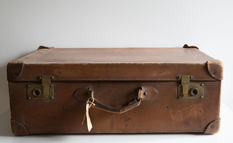 Oude leren koffer