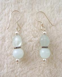 Aquamarijn oorbellen, echt zilver - edelsteen