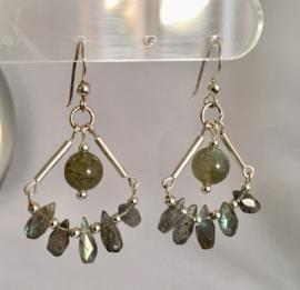 Labradoriet oorbellen - Echt zilver, echte edelstenen