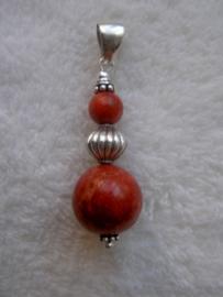 Koraal (rood) hanger - Echt zilver, echt sponskoraal
