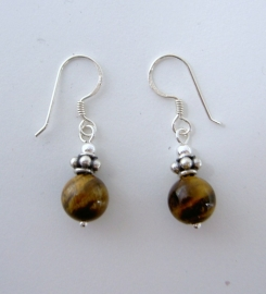 Tijgeroog oorbellen I, echt zilver en edelsteen, 2,2 of 3,2 cm