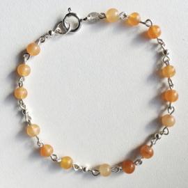 Aventurijn armband Romeinse stijl, Echt zilver, echte Oranje Aventurijn