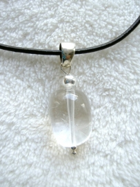 Bergkristal hanger, echt zilver - edelsteen