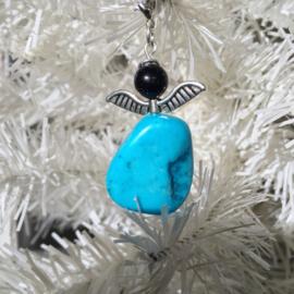 Engeltje `Geluk` Turquoise/Goudsteen -Natuur- Echte edelsteen