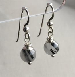 Toermalijnkwarts oorbellen II, echt zilver Toermalijnkwarts