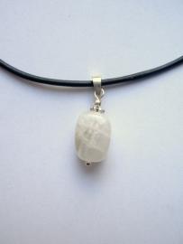 Maansteen hanger klein, echt zilver - edelsteen
