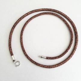 Veter - Feest (copper/Rosé), 3mm dik - diverse lengtes - zilveren sluiting