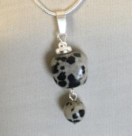 Jaspis Dalmatiër hanger, echt zilver - Echte Jaspis