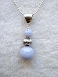 Chalcedoon hanger - Echt zilver, echte edelstenen