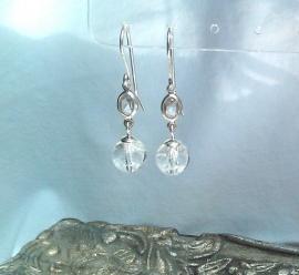 Bergkristal oorbellen IV, echt zilver en edelsteen, 2,7 of 3,5cm