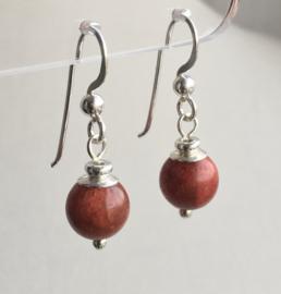 Koraal oorbellen II, echt zilver - Rood Sponskoraal