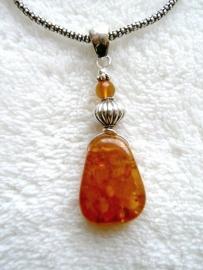 Amber (Barnsteen) hanger - Echt zilver, echte Amber