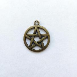 Bedel Pentagram - kleur brons, 3 cm