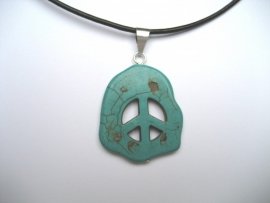 Peace, Vrede hanger, Howliet - Turquoise
