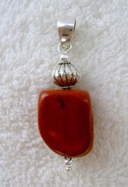 Rode Jaspis hanger - Echt zilver, echte edelsteen