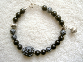 Pulserende armband Obsidiaan - Sneeuwvlokobsidiaan
