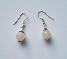 Rozenkwarts oorbellen I, echt zilver en edelsteen, 2 of 3 cm