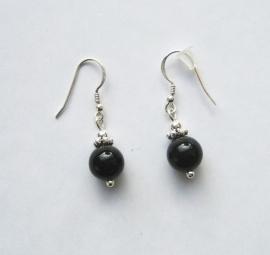 Onyx oorbellen I, echt zilver en edelsteen,  2 of 3 cm,