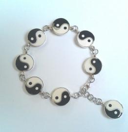 Yin Yang armband voor evenwicht, verzilverd