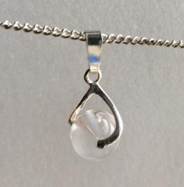 Bergkristal hanger 2,5 cm met 10 mm bol echt zilver - Bergkristal