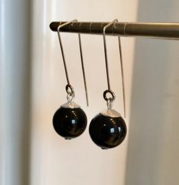 Onyx oorbellen, echt zilver - edelsteen