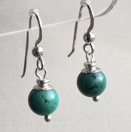 Turquoise oorbellen II, echt zilver - Turquoise