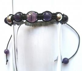 Shambhala armband Amethyst/zilver/katoen